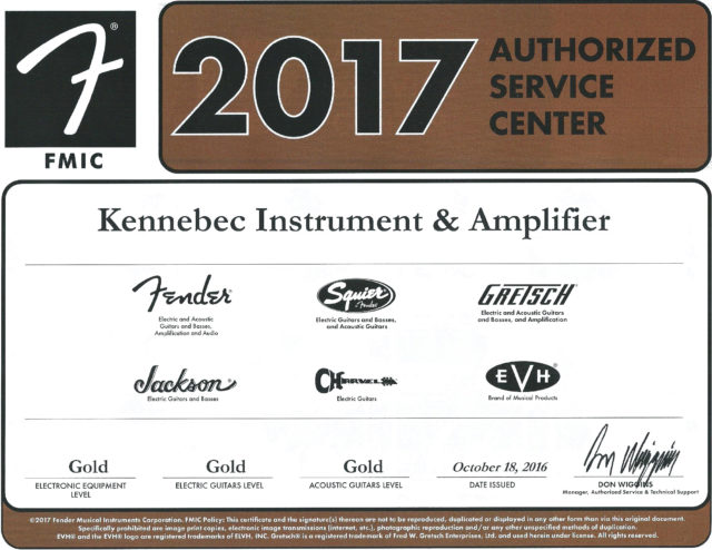 2017 Fender Authorized Service Center - Kennebec Instrument and Amplifier