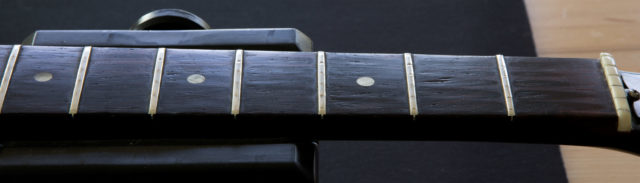 Before fret replacement by Kennebec Instrument and Amplifier